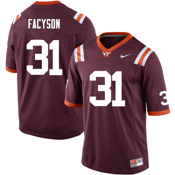 Men #31 Brandon Facyson Virginia Tech Hokies College Football Jerseys Sale-Maroon